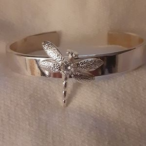 Beautiful sterling silver plated dragonfly cuff